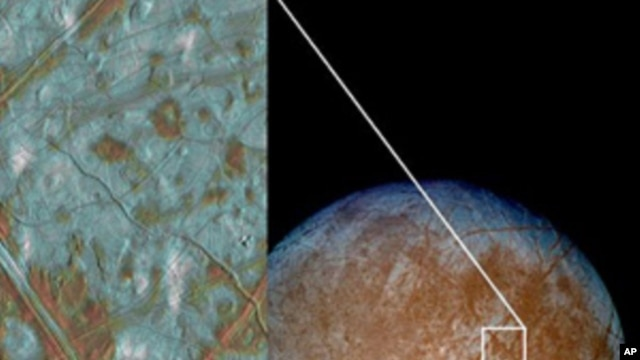 Jupiter's moon Europa has a crust made up of blocks, which are thought to have broken apart and 'rafted' into new positions, as shown in the image on the left. These features are the best geologic evidence to date that Europa may have had a subsurface oce