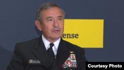 美軍太平洋司令部司令哈里斯2016年11月15日在華盛頓發表講話(美國之音黎堡攝)