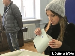 Voting at polling station 73, near the Kremlin, March 18, 2018.