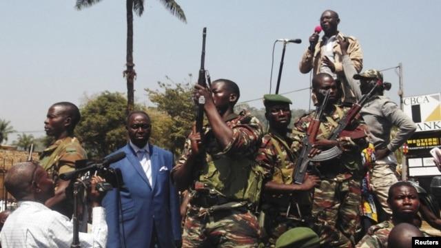Presidente Francois Bozize,falando a apoiantes em Bangui na semana passada.