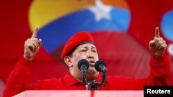 El presidente Hugo Chávez en el incio oficial de su campaña por la reelección a la presidencia.