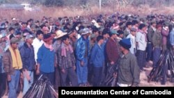 Formal integration ceremony in Anlong Veng in February 1999 (Source: Photo by Khun Ly/ Documentation Center of Cambodia Archive)