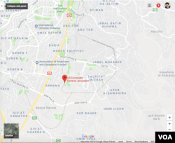 Google Map of southern Jerusalem, showing the five-sided box created by the Israeli-Jordanian armistice lines of April 23, 1949. The new U.S. embassy will be located at the U.S. Consulate General complex in Jerusalem's Arnona neighborhood. The western armistice line of the five-sided box passes through the complex.