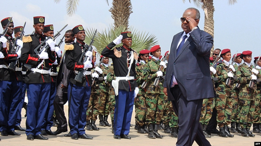 Djibouti's President Ismael Guelleh inspects a guard of honour during his inauguration on May 8, 2016 in Djibouti after his fourth re-election.