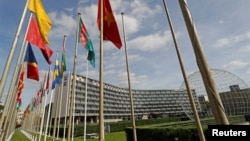 FILE - A general view shows the headquarters of the United Nations Educational, Scientific and Cultural Organization (UNESCO) in Paris, Oct. 4, 2017.