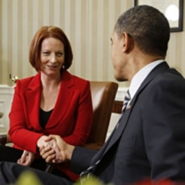 U.S. President Barack Obama (R) shakes hands with Australia's Prime Minister Julia Gillard in the Oval Office of the White House, March 7, 2011