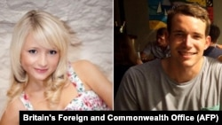 FILE - A combination of handout images shows British students, Hannah Witheridge, left, and David Miller, right.