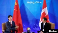 加拿大总理特鲁多与阿里巴巴创始人马云在北京会面(2016年8月30日)