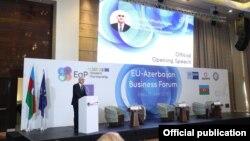 Şahin Mustafayev Azərbaycan-Avropa İttifaqı biznes forumunda çıxış edir