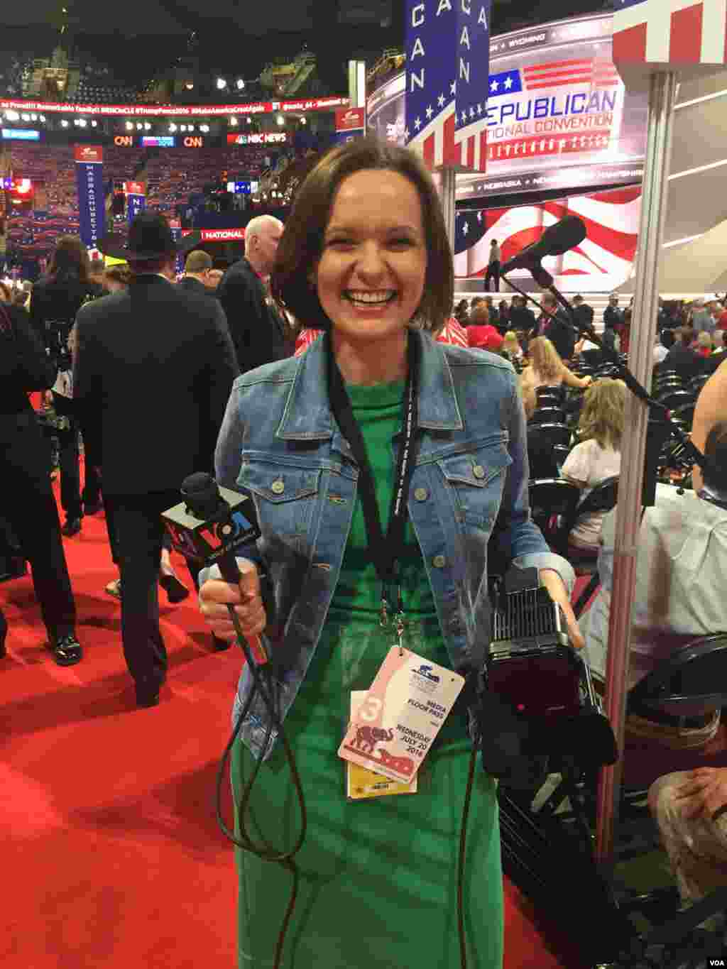 VOA Ukrainian reporter Tatiana Koprowicz at the GOP Convention in Cleveland
