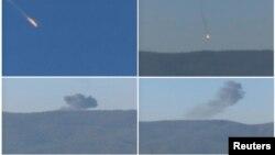 지난해 11월 터키 군이 영공을 침범한 러시아 수호이 24 전투기를 격추시켰다고 주장했다. 당시 전투기 추락 순간을 촬영한 사진.