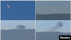 روسی طیارے کے گرنے سے قبل اور بعد کے مختلف مناظر