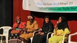 Mombasa county candidates for women's representative debate at the Little Theater in Mombasa, Kenya, on February 21, 2013. (VOA/Jill Craig)