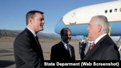 El Secretario de Estado Rex Tillerson se llega el 3 de febrer de 2018 a Bariloche, Argentina.