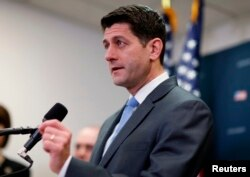 U.S. House Speaker Paul Ryan (R-WI) speaks to reporters on Capitol Hill.
