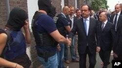 François Hollande à Saint-Etienne-du-Rouvray en Normandie, France, le 26 juillet 2016.