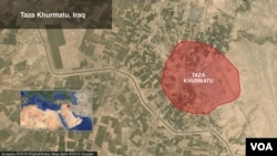 Map of Taza, Iraq. (VOA/Mark Sandeen)