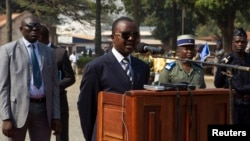 Alexandre Nguendet, chairman of the National Transition Council, speaks at the Gendarmerie headquarters in Bangui, Jan. 13, 2014.