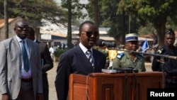Central African Republic interim president Alexandre Nguendet gives a speech at the Gendarmerie headquarters in Bangui, Jan. 13, 2014.