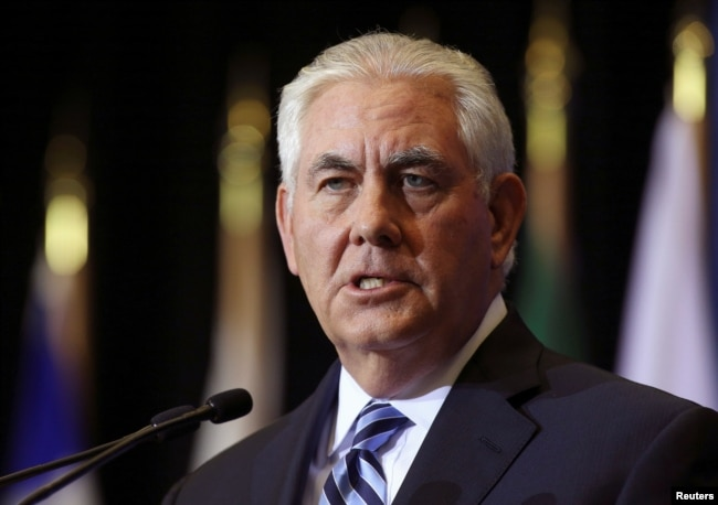 """FILE - U.S. Secretary of State Rex Tillerson, pictured at a January news conference during a foreign ministers meeting in Vancouver, British Columbia, says that """"as we have seen from Iran's proxy wars and public announcements, Iran seeks dominance in the Middle East and the destruction of our ally, Israel."""""""