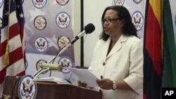 "U.S. Ambassador to South Sudan Susan Page warns that democracy can be ""easily lost."" (File)."