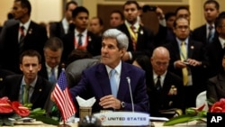 U.S. Secretary of State John Kerry attends the East Asia Summit Foreign Ministers' Meeting in Kuala Lumpur, Malaysia, August 6, 2015. (AP Photo/Joshua Paul)