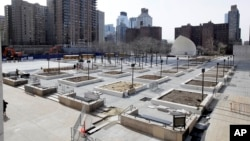 FILE - Photo shows Damrosch Park, in New York's Lincoln Center.