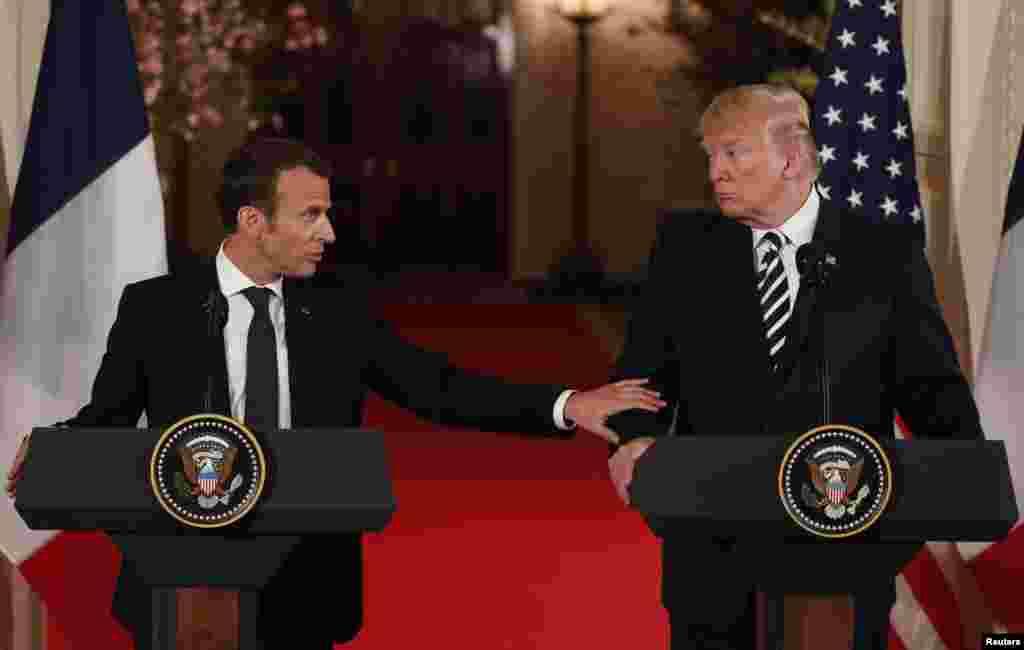 Francuski predsednik Emanuel Makron istakao je po dolasku u Belu kuću, bliske veze između Francuske i SAD, a američki predsednik Donald Tramp zahvalio je Makronu za odlučnu akciju u Siriji. 24. april, 2018.