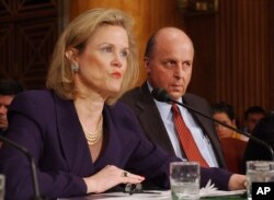 FILE - Robin Raphel, coordinator of the State Department's Office of Iraq Reconstruction, discusses the U.N.'s Oil for Food Program on Capitol Hill, April 7, 2004.