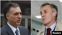 President Montenegro Filip Vujanovic (kiri) dan capres dari oposisi Miodrag Lekic dalam Pemilihan Presiden Montenegro di Podgorica (7/4). Kedua pihak mengklaim telah mengalahkan lawannya dengan kemenangan tipis, Senin pagi (8/4).