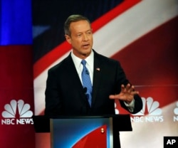 Democratic presidential candidate former Maryland Gov. Martin O'Malley speaks at the NBC, YouTube Democratic presidential debate at the Gaillard Center, in Charleston, S.C., Jan. 17, 2016.