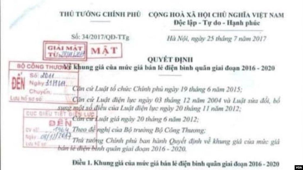 Hình ảnh Quyết định số 34 được cho là của 'Thủ tướng chính phủ'. Nguồn: facebook Thanh Hieu Bui.