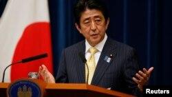 26일 아베 신조 일본 총리가 국회 폐막에 맞추어 기자회견을 가지고 있다.