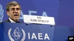 17일 국제원자력기( IAEA) 이사회에서 발언하는 이란 원자력기구의 압바시 다바니 국장.
