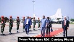 Président Félix Tshisekedi na bozongi na ye na Kinshasa kowuta Bunia, e juillet 2019. (Twitter/Présidence RDC)