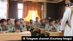 Middle-school students being taught at an Islamic State-run school in Raqqa, Syria.