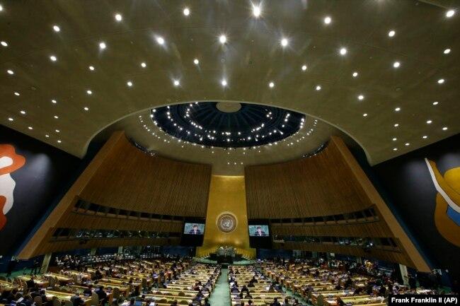 Wakil Presiden Indonesia Jusuf Kalla berpidato di sidang ke-73 Sidang Umum Perserikatan Bangsa-Bangsa Kamis, 27 September 2018, di markas besar Perserikatan Bangsa-Bangsa. (Foto: AP/Frank Franklin II)