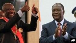 로랑 그바그보(왼쪽) 코트디부아르 대통령이 대선 결과에 불복 아비장의 대통령궁에서 취임식을 열자 대선에서 승리한 알라산 와타라(오른쪽) 전 총리도 곧이어 아비장의 걸프호텔에서 취임선서식을 갖고 지지자들에게 박수를 보내고 있다.