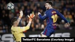 Lionel Messi a marqué les trois buts de son équipe contre Leganés, au Camp Nou, Espagne, 7 avril 2018. (Twitter/FC Barcelone)