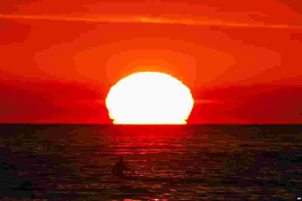 یک موج سوار در انتظار موج دریا به هنگام غروب آفتاب در کالیفرنیا