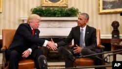 奧巴馬總統與當選總統川普握手(2016年11月10日)