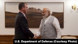 U.S. Defense Secretary Ash Carter meets with India Prime Minister Narendra Modi to discuss the progress on U.S.-India defense relationship, in New Delhi, India, April 12, 2016.