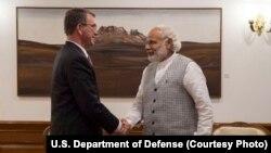 U.S. Defense Secretary Ash Carter meets with India Prime Minister Narendra Modi to discuss the progress on U.S.-India defense relationship, in New Delhi, India, April 12, 2016.