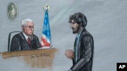 Dzhokhar Tsarnaev gjatë procesit gjyqësor në vitin 2015