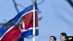 조기가 걸린 베이징 주재 북한 대사관