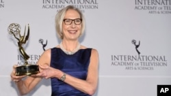 Maria Rorbye Ronn winner of the Directorate Award appears in the press room for the 44th International Emmy Awards at the New York Hilton, Nov. 21, 2016.