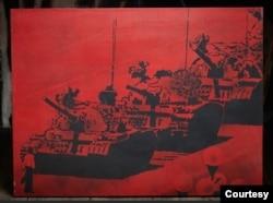 图为该系列中的一幅油画。(由亚裔美国人艺术中心、人道中国和自由雕塑公园提供)