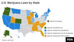 美國大麻合法化的州分佈圖。