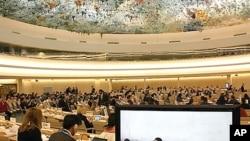 스위스 제네바의 유엔 인권이사회 회의장. (자료사진)