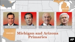 Romney, Santorum Showdown Expected in Michigan Tuesday